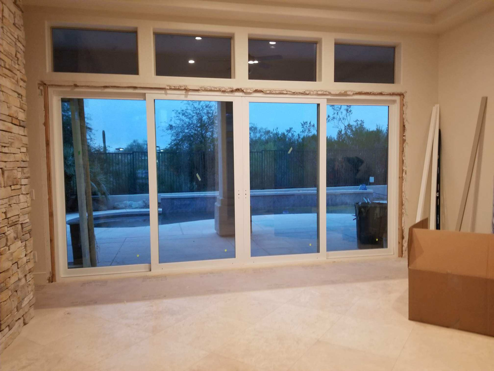 Arizona Window and Door in Scottsdale and Tucson showing white back slider door
