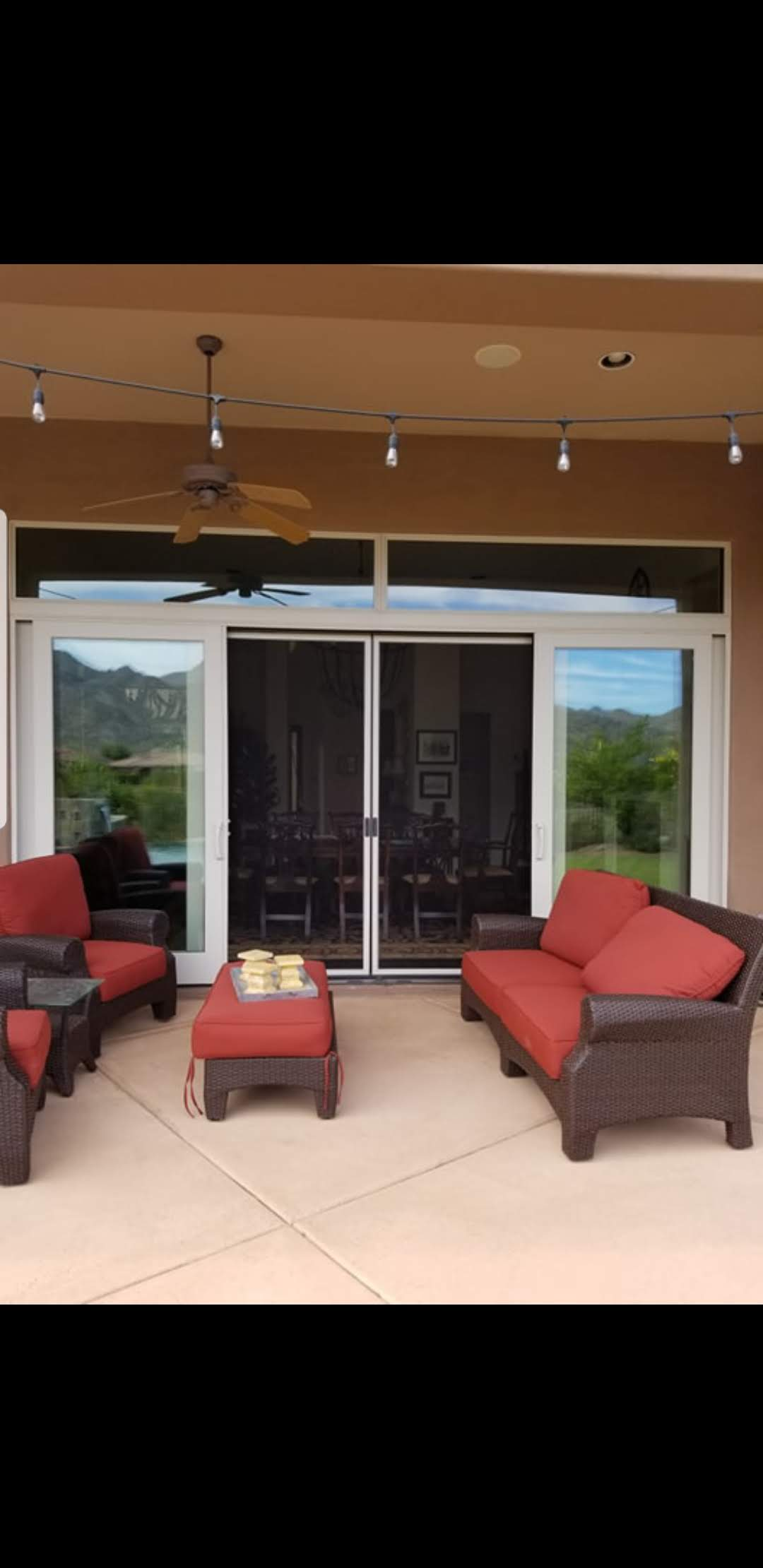 Arizona Window and Door in Scottsdale and Tucson showing sliding patio doors and seating