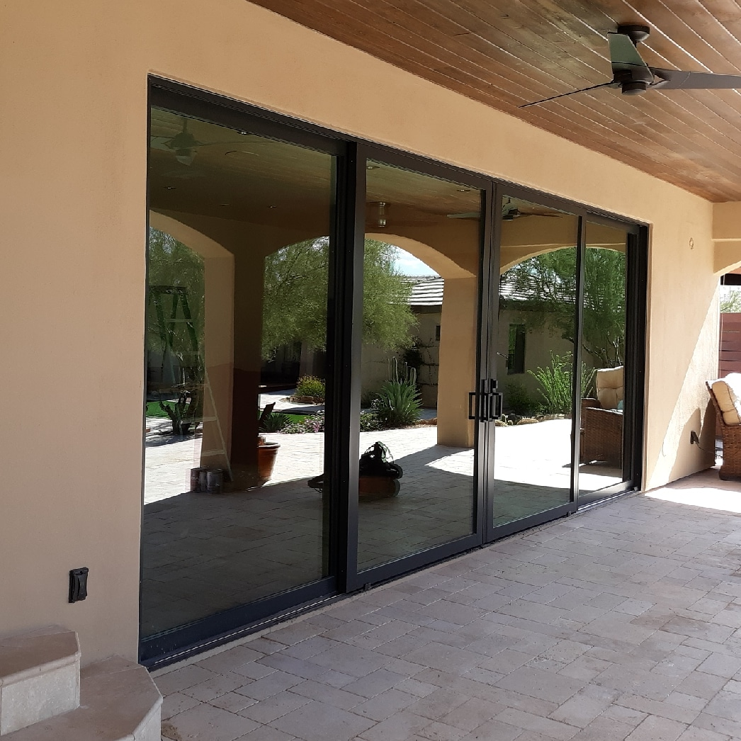 Arizona Window and Door in Scottsdale and Tucson showing black sliding french door on patio