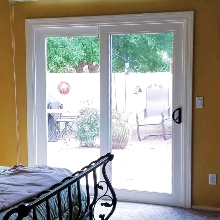 Arizona Window and Door in Scottsdale and Tucson showing master bedroom white sliding door