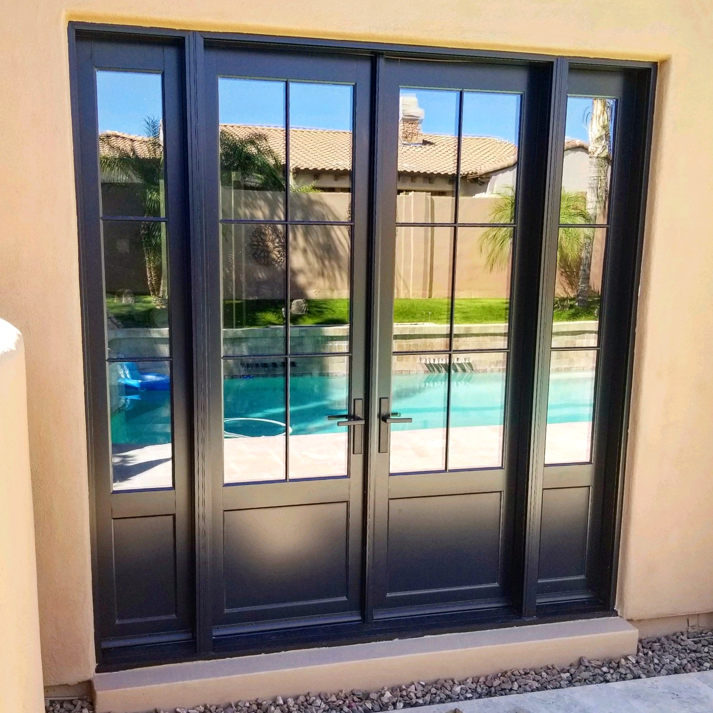 Arizona Window and Door in Scottsdale and Tucson showing black french doors for patio